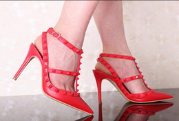 sexy t strap wedding shoes Canada - Hot Sale-Pumps Wedding Shoes Woman High Heels Nude Fashion Ankle Straps Rivets Shoes Sexy High Heels Bridal Shoes T-Strap Stiletto Heels