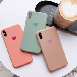 iphone heart case yellow NZ - Lovely Couples Love Heart Solid Candy Color Back Phone Case Soft Silicone Matte Shockproof TPU Cover For iphone 6S 7 8 Plus X XS Max XR