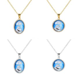 crystal eagle necklace jewelry NZ - Creative Blue Sky White Cloud Pendant Necklace Resin Glass Eagle Pattern Necklace Inlaid Crystal Round Oval Jewelry