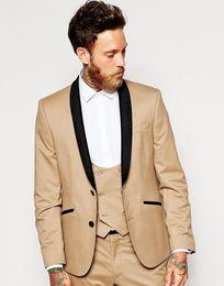 Groom Groomsmen Champagne Vest Australia - New Arrival Groomsmen Shawl Black Lapel Groom Tuxedos Khaki Men Suits Wedding Best Man Blazer (Jacket+Pants+Tie+Vest)