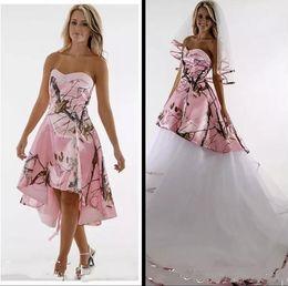 $enCountryForm.capitalKeyWord Australia - 2020 Pink Camo Wedding Dresses With Detachable Train Sweet Heart Backless Sweep Train Country Garden Bridal Gowns Western Vestido De Novia