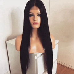 Discount cheap middle part wigs - Long Straight 150% Density Middle Part Black Wig Glueless Synthetic Lace Front Wig With Baby Hair Heat Resistant Cheap W