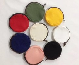 wholesale round cosmetic bag Australia - Colorful blank Round canvas zipper pouches cotton cosmetic Bags makeup bags Cotton canvas coin purse SN143