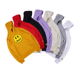 Wholesale black red yellow hoodie online – oversize Mens and Womens Hoodies Drew House Smile Printing Long Sleeve Hoodie Style Winter Hoodies Asian Size S XL