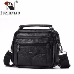 Small Leather Messenger Bags Australia - FUZHINIAO Fashion Business Soft Genuine Cow Leather Real Men Messenger Bag Trip Small Crossbody Shoulder Bag Male Handbag Zipper