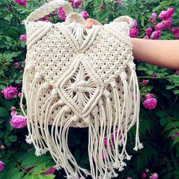 $enCountryForm.capitalKeyWord Canada - New Fashion White Handmade Cotton Rope Hollow Out Woven Tassel Bag Trend Women's Handbag Straw Shoulder Bag For Ladies