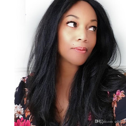 Brazilian Light Yaki Lace Wig Australia - Indian Remy Yaki Lace Wig Human Hair Cheap Brazilian Pre Plucked Light Yaki Glueless Full Lace Human Hair Wigs For Black Women