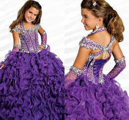 $enCountryForm.capitalKeyWord Australia - 2016 Ritzee Halter Ball Gowns Girls Pageant Dresses With Capped Sleeves 2017 Beads Crystal Piping Floor-length Lace-up Girls Pageant Gowns