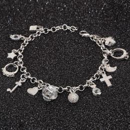$enCountryForm.capitalKeyWord Australia - Wholesale- Bracelet 925 jewelry silver plated Cross Charm Bracelet Fashion Jewelry Bracelet Leading Shrimp Buckle 20CM Chain Free Shipping