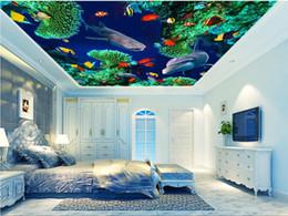 $enCountryForm.capitalKeyWord NZ - WDBH 3d ceiling mural wallpaper custom photo Ocean World Shark Dolphin Fish Coral room home decor 3d wall murals wallpaper for walls 3 d