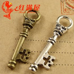 $enCountryForm.capitalKeyWord Australia - 35*9MM Antique Bronze Retro skull crown key charm beads, DIY jewelry wholesale Vintage keys pendant, tibetan charms whole sale