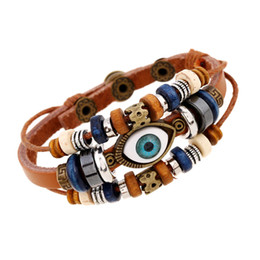 $enCountryForm.capitalKeyWord NZ - Multilayer Vintage Devil Eye Alloy Leather Bracelet Men Casual Personality PU Woven Beaded Bracelet Punk Style Women Adjustable K3772