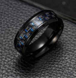 red mens rings Canada - 2019 Titanium Steel Black Carbon Fiber Rings Fashion Red Blue Ring Anel Masculino Mens Cool Jewelry