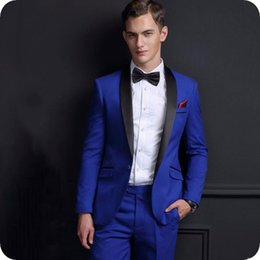 $enCountryForm.capitalKeyWord Australia - Royal Blue Groom Tuxedos Men Suits for Wedding Suits Custom Made Slim Fit Best Man Blazer Prom 2Piece Jacket Pants Cuostume Homme Mariage