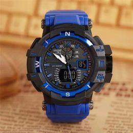 Dial Box Australia - With Original Box Men Sports Wristwatch Men's Big Dial Digital LED Shock Rubber Wrist Watches Free Shipping