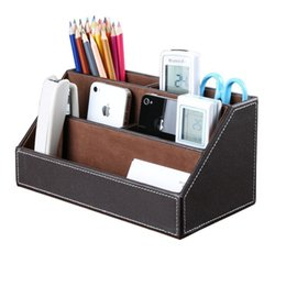 $enCountryForm.capitalKeyWord Australia - Home Office Wooden Struction Leather Multi-function Desk Stationery Organizer Storage Box, Pen Pencil ,Cell phone, Business