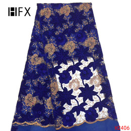 $enCountryForm.capitalKeyWord Australia - HFX Royal Blue velvet Latest African Lace Fabrics High Quality 2019 Nigerian Lace Fabric For women clothes free shipping H2406