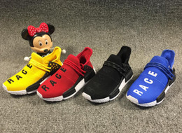 fc63bbb48 2019 Human Race NMD Runing Shoes kids boys girls Solar Pack Black Yellow PW  HU HOLI Pharrell Williams Children Designer Sport Sneakers