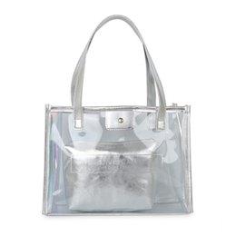 Clear totes wholesale online shopping - New Top handle Clear Transparent PVC Women Shoulder Bags Jelly Candy Color Women Messenger Cross body Messeger Beach Bags