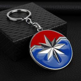 $enCountryForm.capitalKeyWord UK - Avengers Captain America Carol Danvers Shield Logo Keychains Superhero Ms.Marvel Thor Axe Pendant Car Keyring Pendants Men figure toy GiftC3