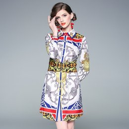 $enCountryForm.capitalKeyWord Canada - 2019 spring street shooting women's printing fashion week big brand lapel high waist lacing single-breasted shirt dress