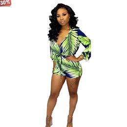 print jumpsuits for women NZ - Long Sleeve Jumpsuit for Women Green Print Rompers Womens Bandage V Neck Zipper Rompers Short 2019 Fashion Club Jumpsuits