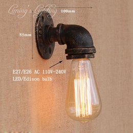 Vintage Water Pipes Australia - Loft Retro metal Water pipe vintage wall lamp with edison led bulb E27 lights for cafe hallway bedroom living room bar cafe