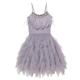 $enCountryForm.capitalKeyWord UK - Joyhopy Flower Girl Dress Fashion Feather Tassels Girls Wedding Party Dress Girls Princess Dresses Clothing 2-7 Y19061501