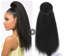 kinky curly clip hair 2019 - Drawstring Afro Puff Kinky Straight Ponytail Synthetic Hair Bun Chignon Hairpiece For Women Updo Clip in Hair Extension