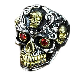 punk rings Australia - Retro Personality Silver Two Tone 18K Yellow Gold Skull Ring Ruby Inlay Men's Punk Jewelry US Size From 6 To 14