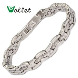 Magnets jewelry online shopping - Wollet Jewelry Health Care Magnetic Therapy All Magnets Stainless Steel Bracelet Bangle For Women Silver Color Healing Energy