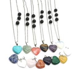 $enCountryForm.capitalKeyWord Australia - Assorted Colors Cross Heart Stone Pendant 8mm Black Lava Stone Charms DIY Aromatherapy Essential Oil Diffuser Necklace Fashion Jewelry