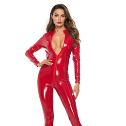 red leather jumpsuits Australia - #2163 Faux Leather Jumpsuit Women Black Red Pink Open Crotch Pu Leather Jumpsuit With Zipper Plus Size 3xl Pole Dance Rompers