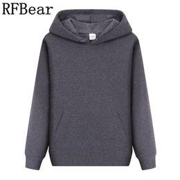 Discount color factory clothes - RFBear Brand new men casual Hoodies sweatshirt Solid color Print trend Fleece Cotton pullover coat warm Clothes Factory