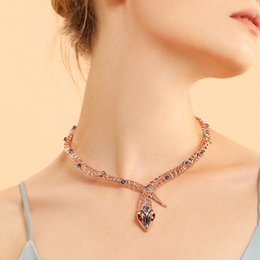 viennois necklace UK - Viennois Rose Gold Color Snake Necklace For Women Chokers Necklaces Rhinestone crystal Chain Necklaces Wedding Party Jewelry J190713