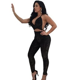 Overalls Jumpsuits For Women NZ - Sexy Summer Black Long Jumpsuit Elegant Jacquard Backless Jumpsuits for Women Deep V Neck Hollow Out Skinny Clubwear Overalls