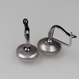 $enCountryForm.capitalKeyWord Australia - Very good Outstanding luster charm 2019 new beauty 13 mm Purple Coin Keshi Baroque Pearl Earrings 18ct Rolled White Gold hook