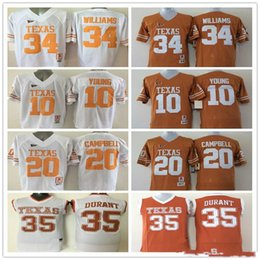 d4a77bc96 10 Vince YOUNG 12 Colt McCoy 34 Connor Williams 35 Kevin Durant jerseys 20  Earl Campbell College Texas Longhorns football sport men shirt