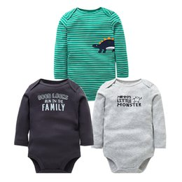 half rompers Canada - Newborn 3PCS Lot Rompers Long Sleeve 100% Cotton Boy Clothes Infant High Quality Baby Jumpsuit 0-24 monthMX190912