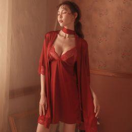 $enCountryForm.capitalKeyWord Australia - Womens Robes Sleepwear Halter Robe and Sexy Nightdress Lounge Set Sleepwear Two-piece Suit Lingerie Mini Dress Robe Set