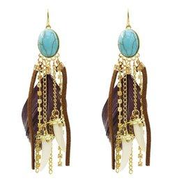 idealway Bohemian Feather Imitation Stone Drop Dangle Earrings with Clear Rhinestone Leather Hot Pepper Shape Long Tassels Statement Earring on Sale