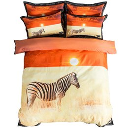 zebra print bedding sets queen NZ - 3d Animal Zebra Print Sunset Bedding Sets Twin Queen King Size Duvet Cover Cotton Bed Sheets Pillowcase Modern Home Textiles