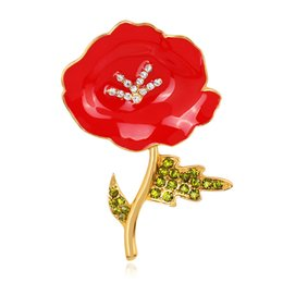 Discount red flower brooch large - Britain Memorial Rhinestone Brooch Large Red Poppy Flower Brooch Green Leaf Collar Lapel Badge Pin DHL Free Shipping