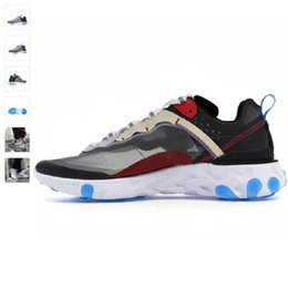 ClassiC athletiC shoes online shopping - 2019 Running Shoes React Element X Upcoming Blue Chill Solar Bule Ant Classic Outdoor Shoes Black White Sports Athletic Sneakers