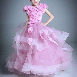 $enCountryForm.capitalKeyWord NZ - White Ivory Pink Ruffle Kids Little Girl Princess Gowns Flower Girl Dress Wedding Party Birthday Bridesmaid For Formal Wedding Occaison