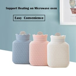 hot water bottle hand warmers Australia - Creative Silicone Microwave Heating Winter Warm Hot Water Bottle Portable Water Bag with Knit Cover Pocket Hand Warmer With Gift Box DHL
