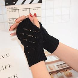 army gloves 2019 - Women Winter Warm Arm Warmer Long Fingerless Gloves Half Finger Fashion Knitted Wrist Mittens cheap army gloves
