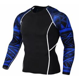 Ivory Lycra Shirt Australia - 2017 Men's T shirts Compression Shirt Crossfit T-shirt Lycra Print Long Sleeve Clothing Tight Brand Clothing Fitness Tops