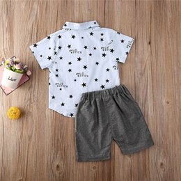 jacket star boy Canada - 6M-3Y Toddler Infant Kid Boys Star Print Short Sleeve Tops T-Shirt Shorts Pants Gentleman Suit Baby Clothes Outfits 2Pcs Set