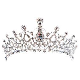 Discount bridal luxury veil - Luxury Bridal Crown Cheap but High Quality Sparkle Beaded Crystals Royal Wedding Crowns Crystal Veil Headband Hair Acces